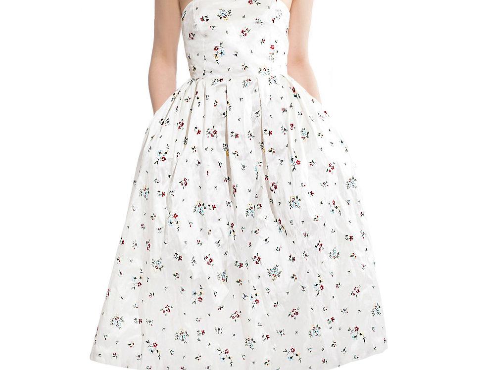 Midi Floral Silk Dress