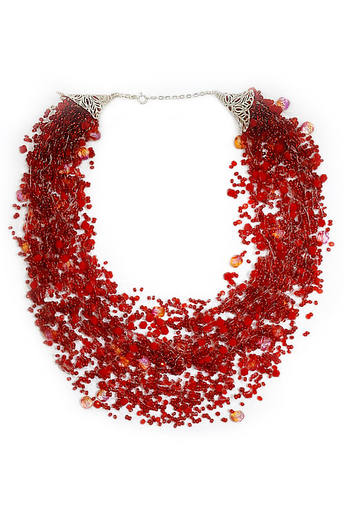 Red Beaded Flowing Necklace