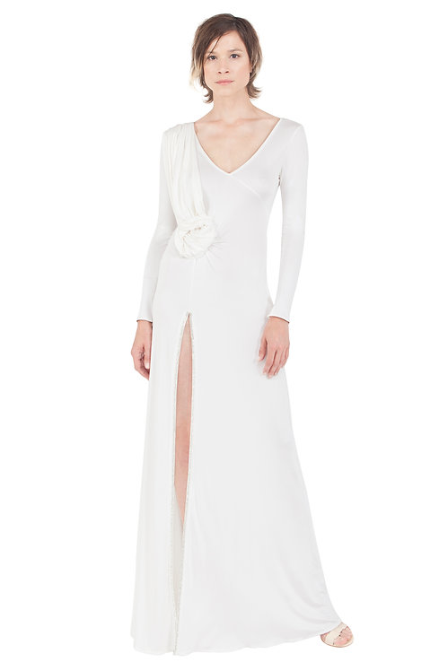 White Silk Jersey Embroidered Gown