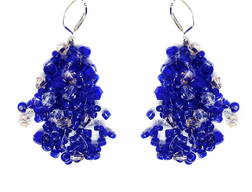 Blue Beaded Flowing Earrings