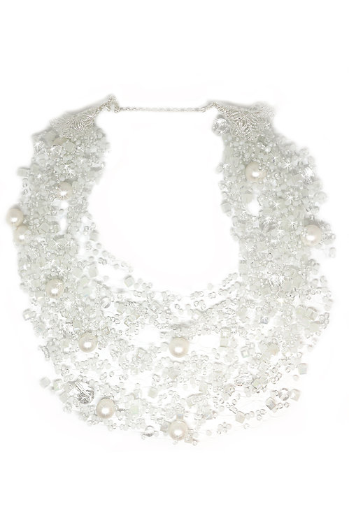 White Beaded Flowing Necklace