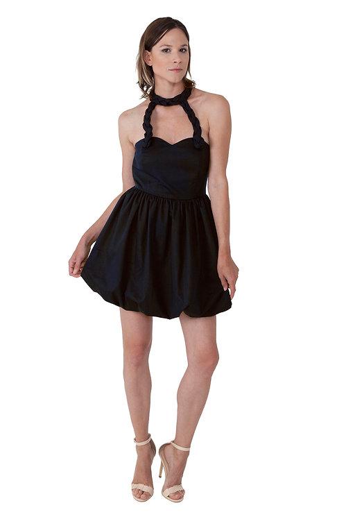 Black Bubble Braided Dress
