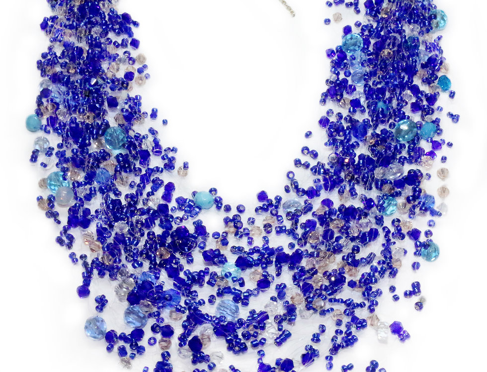 Blue Beaded Flowing Necklace
