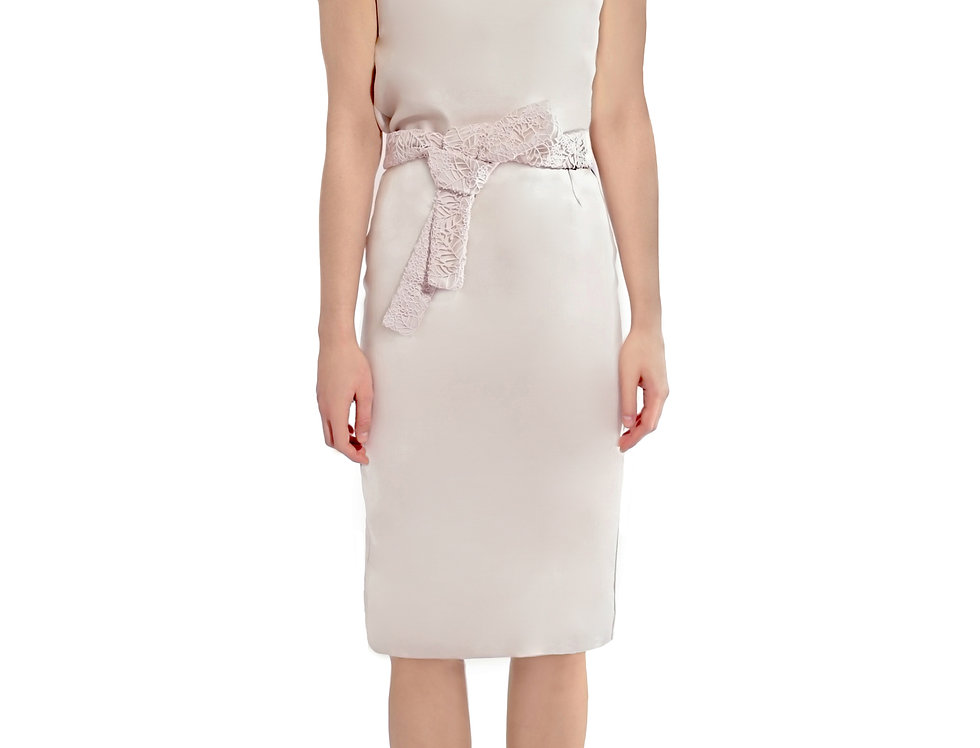 Ivory Skirt With Lace Belt