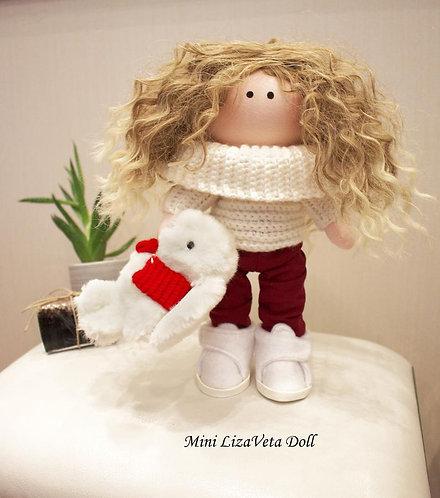 Mini LizaVeta Doll in Off-white Jumper