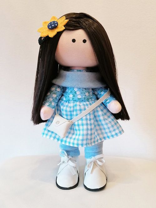 Mini LizaVeta Doll in Blue Check Dress