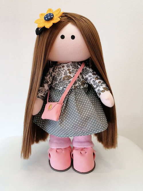 Mini LizaVeta Doll in Grey Polka Dot Dress