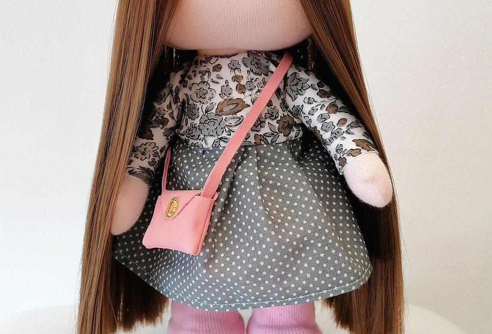 Dolliza in Grey Polka Dot Dress