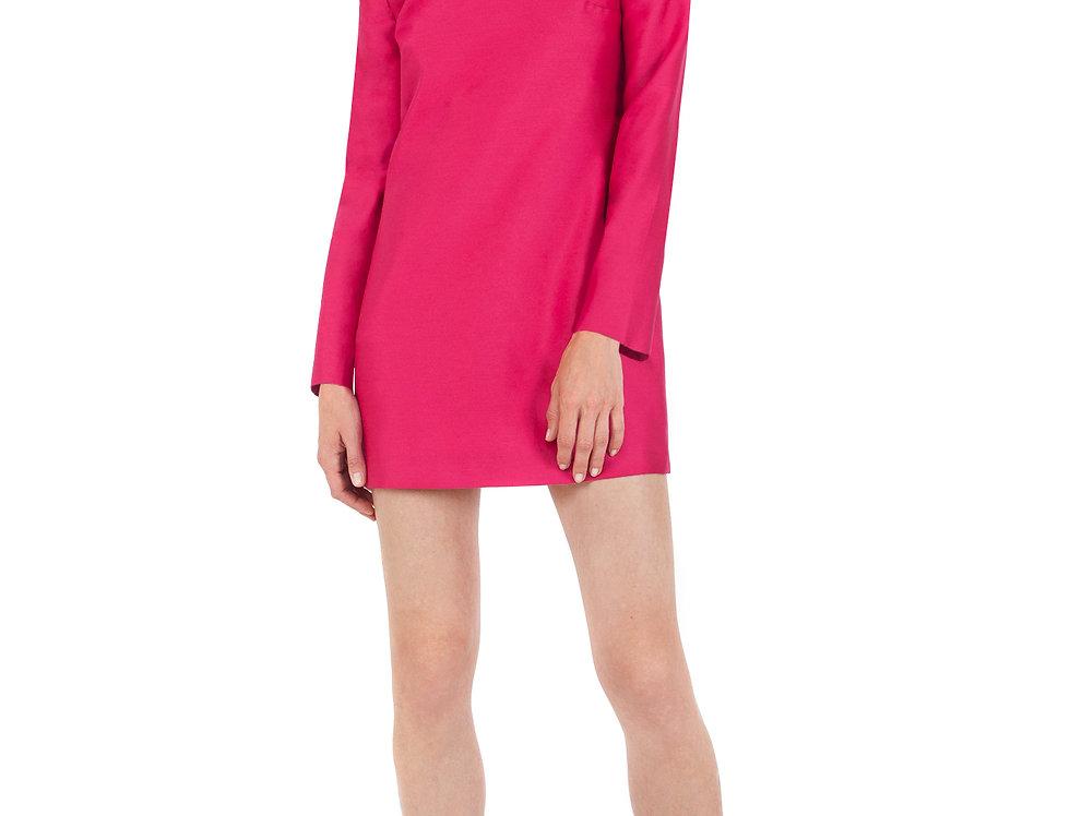 Magenta Silk/Wool Embroidered Dress