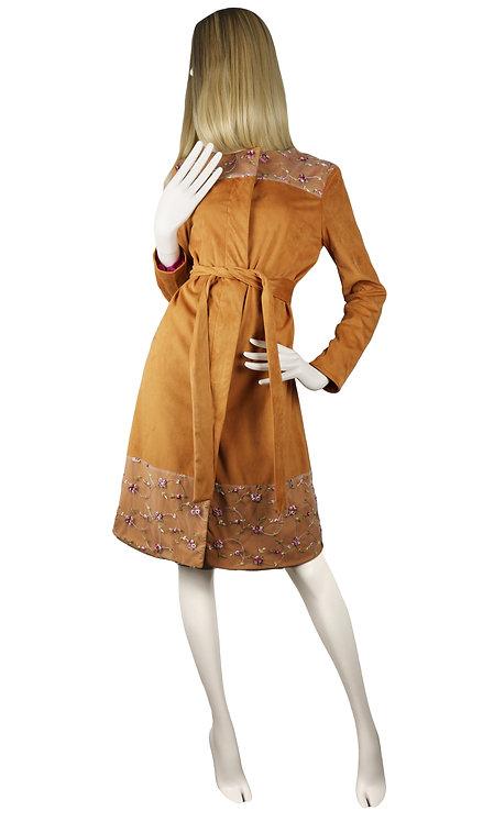 Bronze Suede Coat-Dress