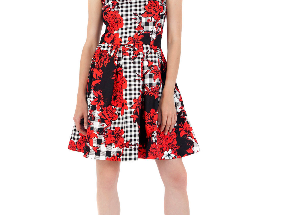 Check Floral Flared Dress