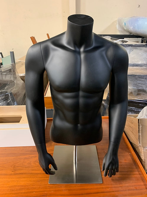 Male Bust With Metal Stand - Straight Arm