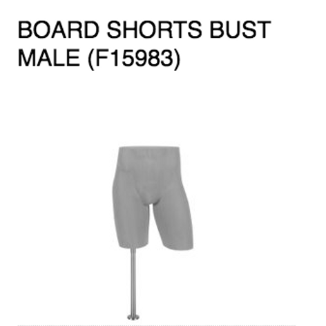 Board Short Bust Male Grey Sanded - Body