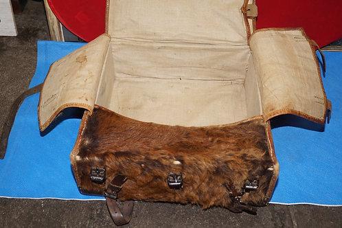 1920's Vintage Swiss Military Rucksack Bovine Fur / Leather