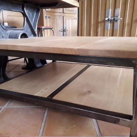 Table basse bois et fer