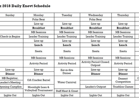 The 2018 Daily Event Schedule Has been Posted