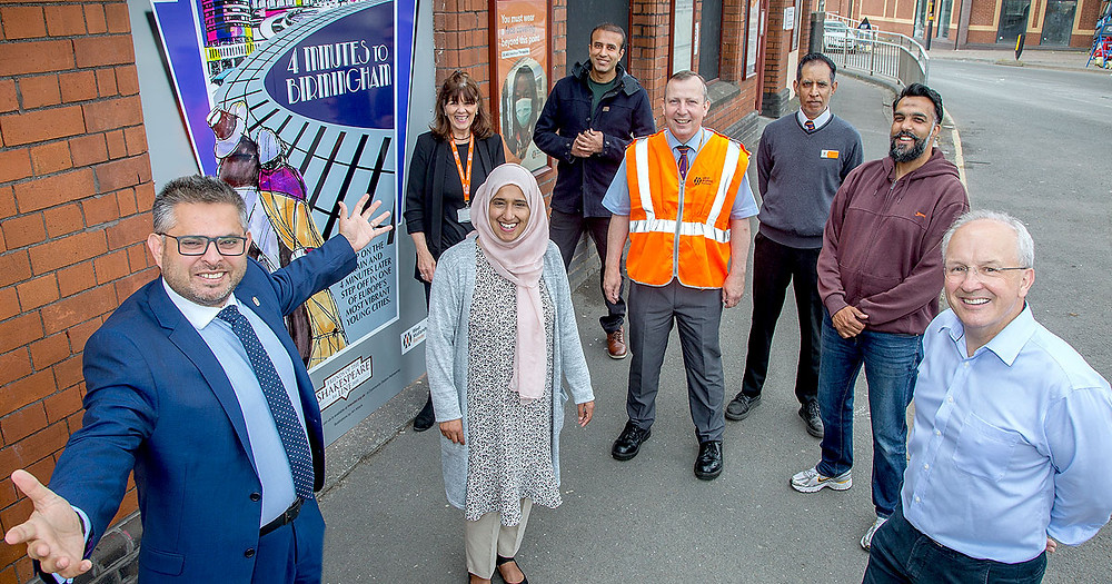 Small Heath rail station adopters unveil 'Art Deco' artwork designed to both celebrate the heritage of the station whilst capturing the eyes of passing motorists to highlight how much quicker it is to use the train to reach Birmingham City Centre