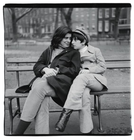 Susan Sontag and her son on bench