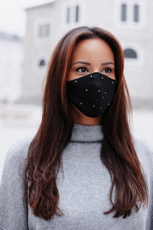 Mund-Nasen-Schutz BLACK GLAMOUR mit Swarovski Kristallen