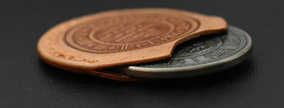 """Customized  """"Carpe Diem Coin"""" leather sleeve + one Carpe Diem Coin"""