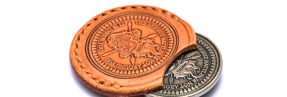"""Customized  """"Victorious Coin"""" leather sleeve + one Victorious Coin"""