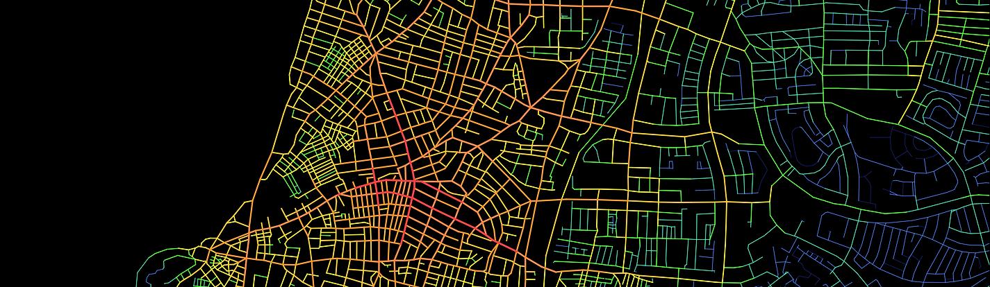 אדריכלות תחבורה פיתוח ניתוח תחביר המרחב מפה ישראל תכנון עירוני תל אביב Space syntax
