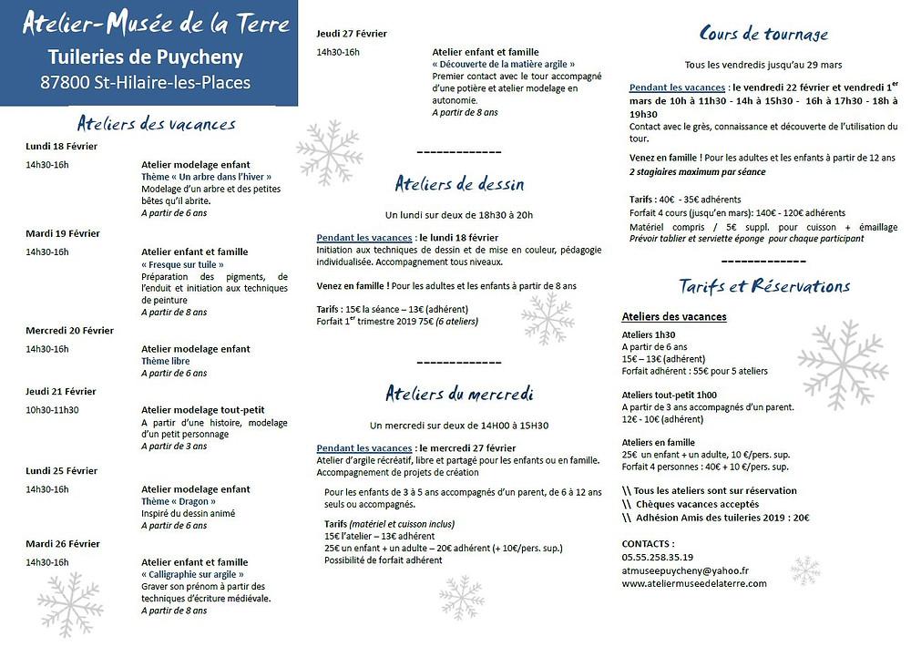 Programme activités vacances d'hiver