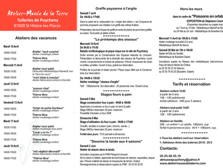 PROGRAMME D'ANIMATIONS AVRIL/MAI/JUIN