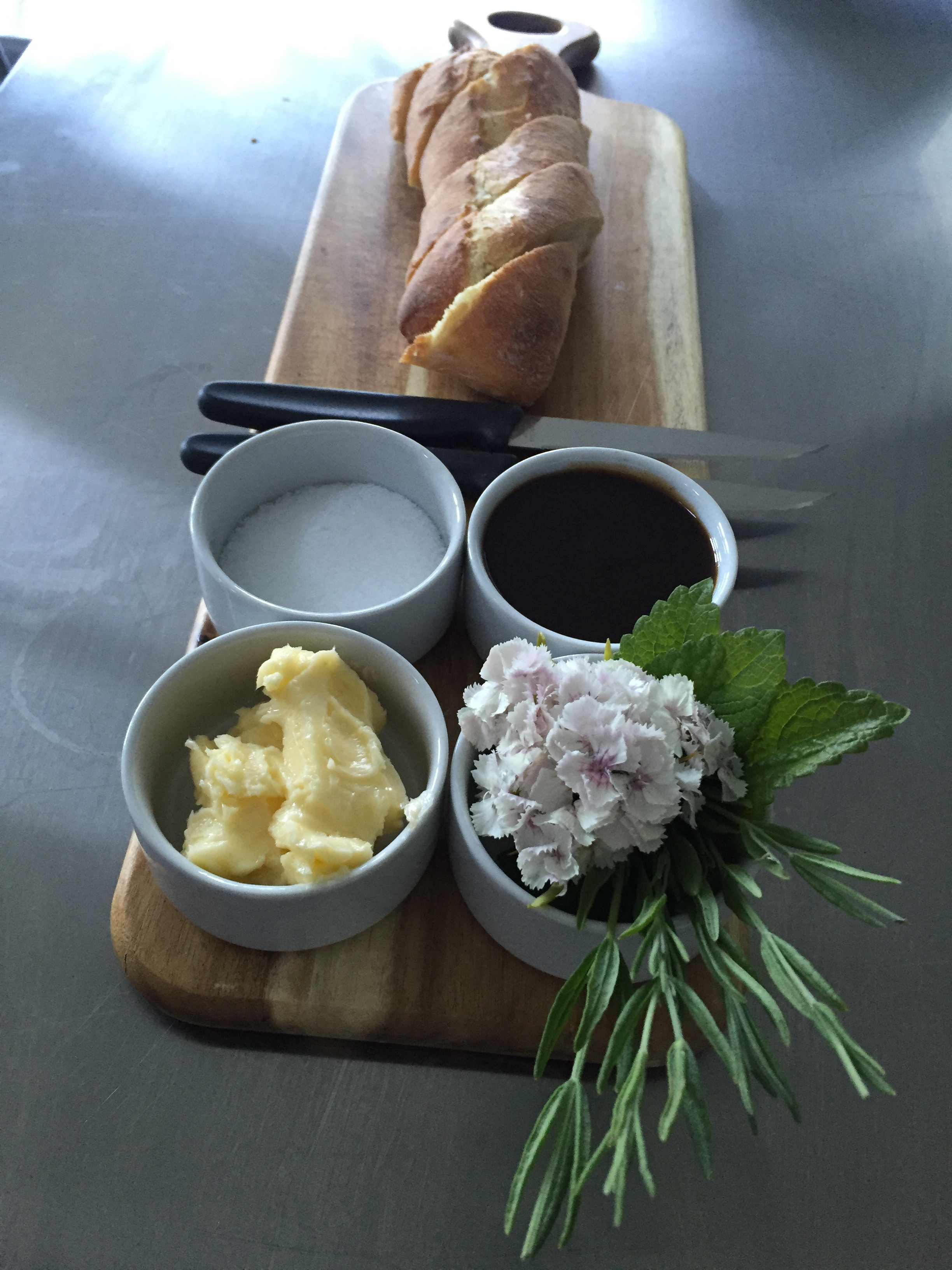 fresh baked baguette, butter & balsamic
