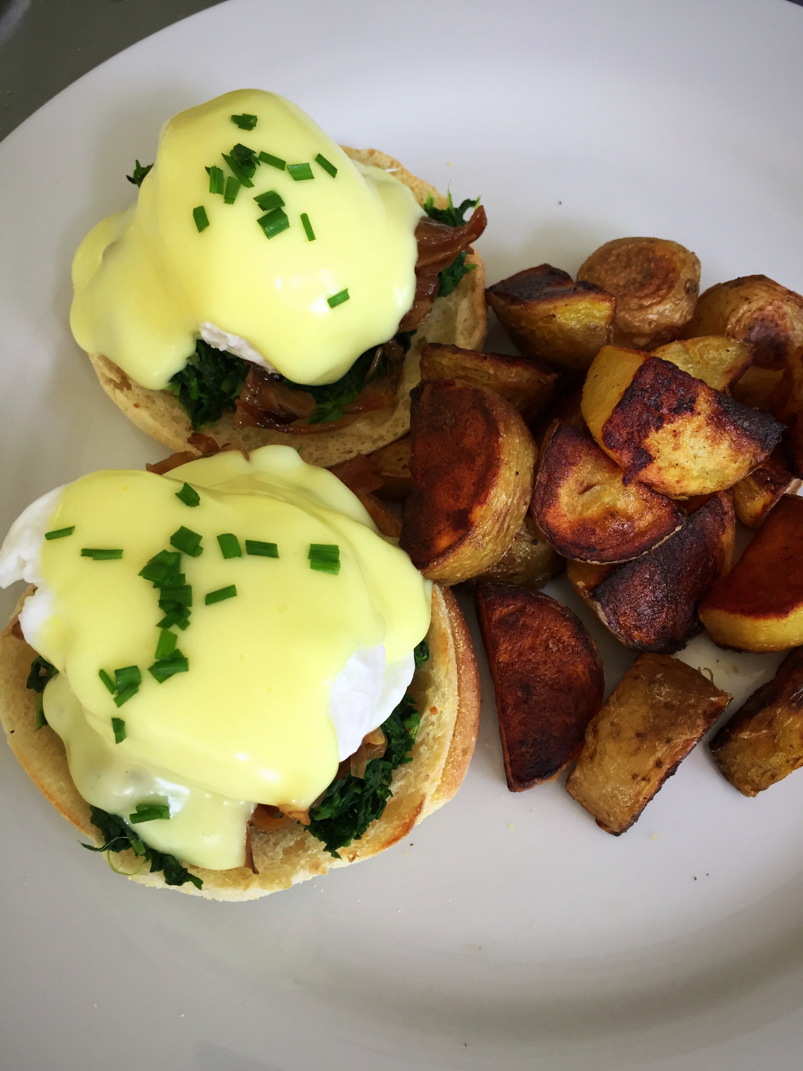 poached eggs, spinach & onions