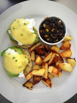 poached eggs & avocado w/ bean salsa