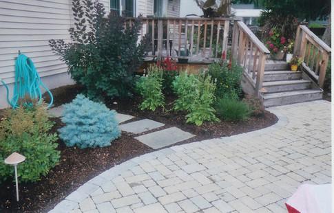 Lower Paver Patio with Backyard Plantings