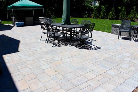Large Four Piece Tile Stone Backyard Patio