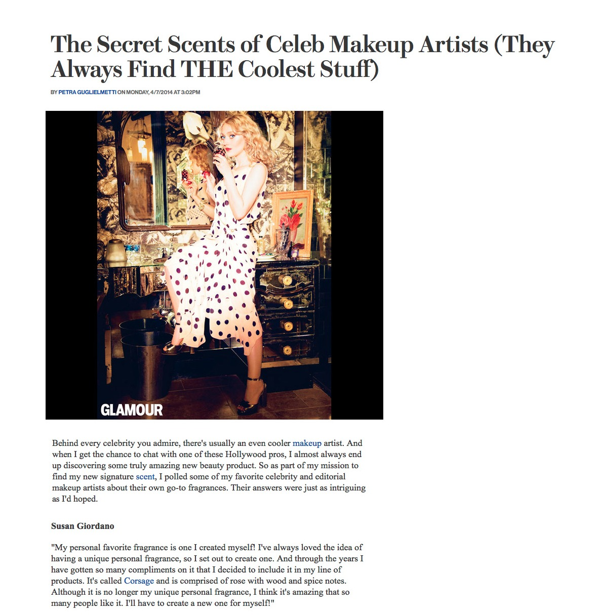 Corsage Fragrance in Glamour Magazin