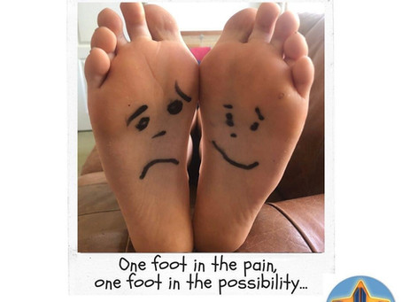 One foot in the pain, one foot in the possibility...