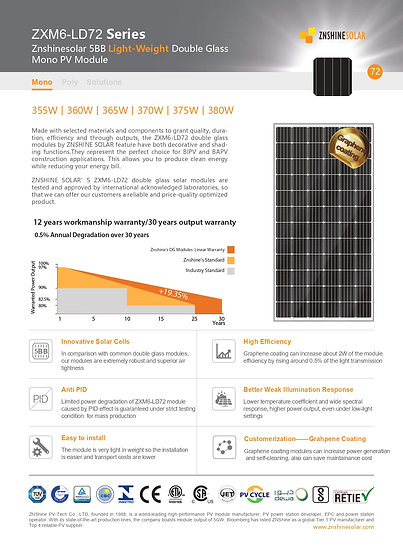 Panel Solar Monocristalino 380W PERC