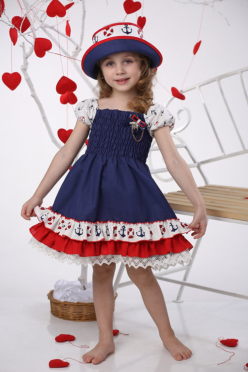 платье  для девочки Л406 Морячка  синий