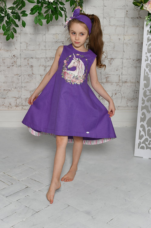 """платье  для девочки Л18-10 """"Фенечка"""" фиолетовый"""