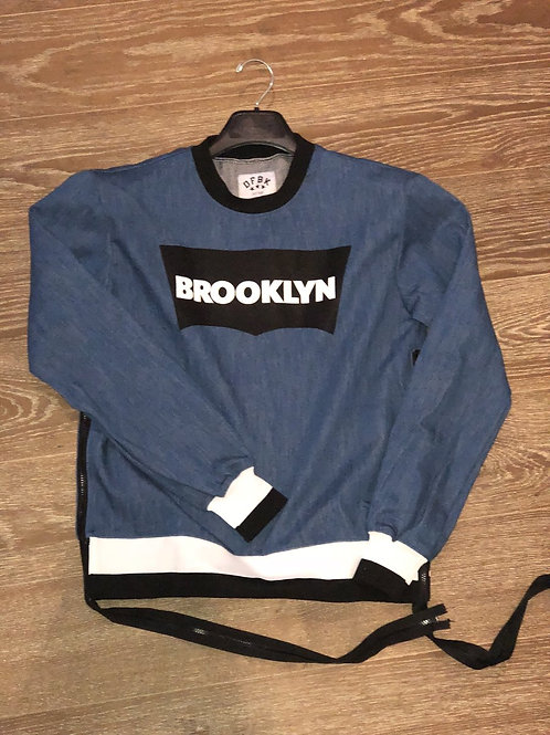 Denim Brooklyn Sweatshirt With Zippers
