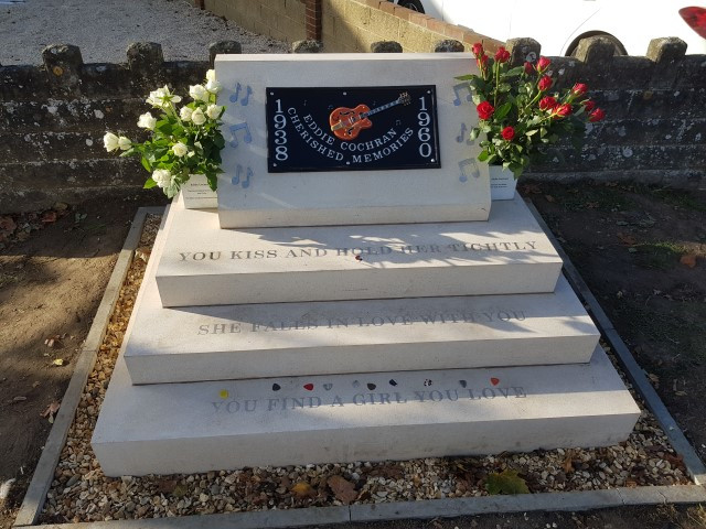 How it looks today- the Eddie Cochran Memorial.