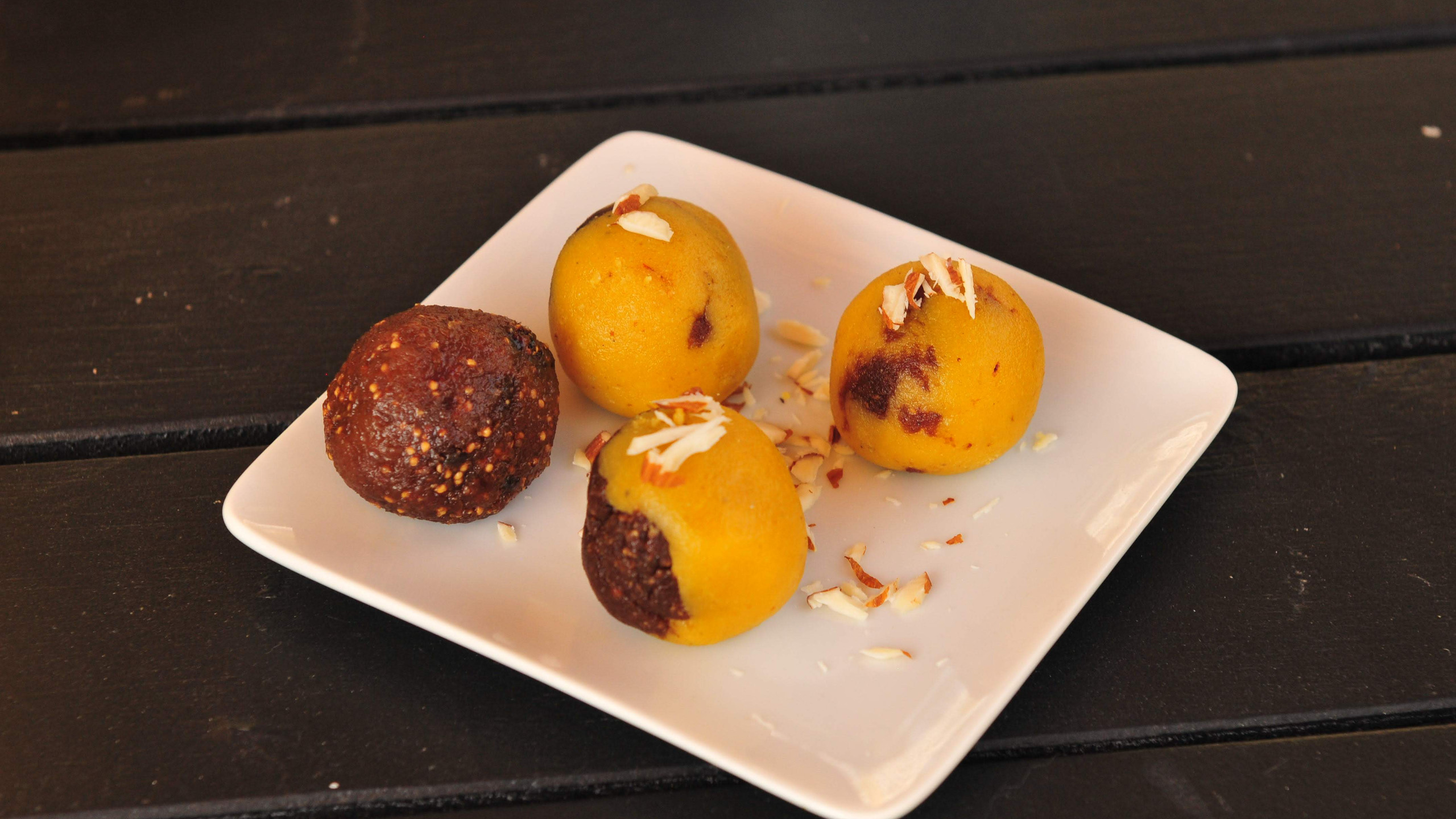 almond fig laddu recipe, chef sanjai