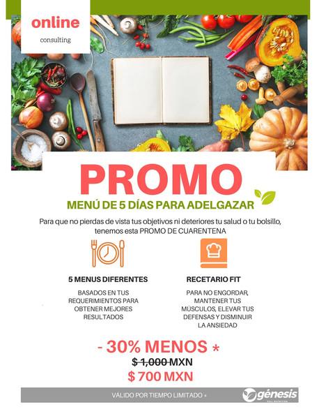 nutrición promo 5 menus recetario fit