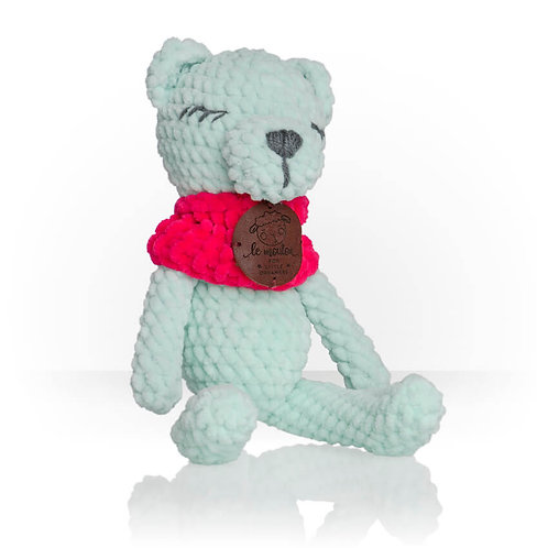 Handmade Kuscheltier - Bär Pierre - Farbe mint in Geschenkverpackung