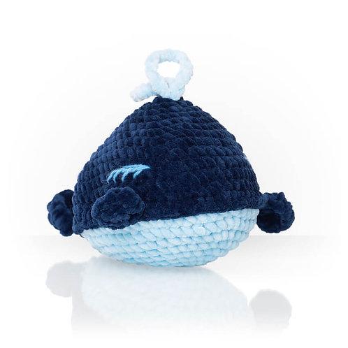 Handmade Kuscheltier - Wal Coco - Farbe blau in Geschenkverpackung
