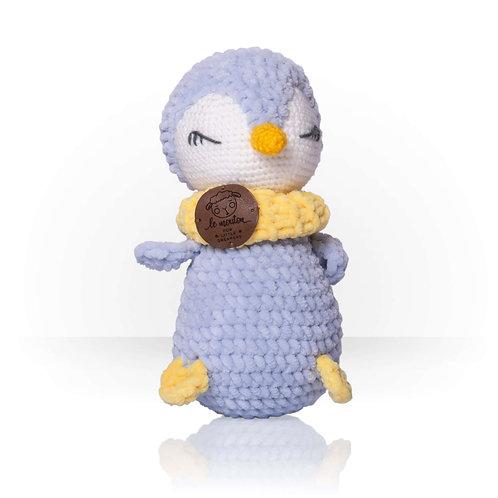 Handmade Kuscheltier - Pinguin Robin - Farbe grau in Geschenkverpackung