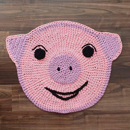 """Handmade Kinder Teppich """"Rosy Pig"""" in rosa"""