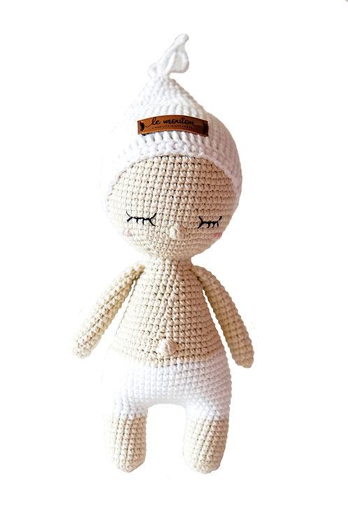 Handmade Kuschelpuppe - Baby Doll Leo in beige in Geschenkverpackung