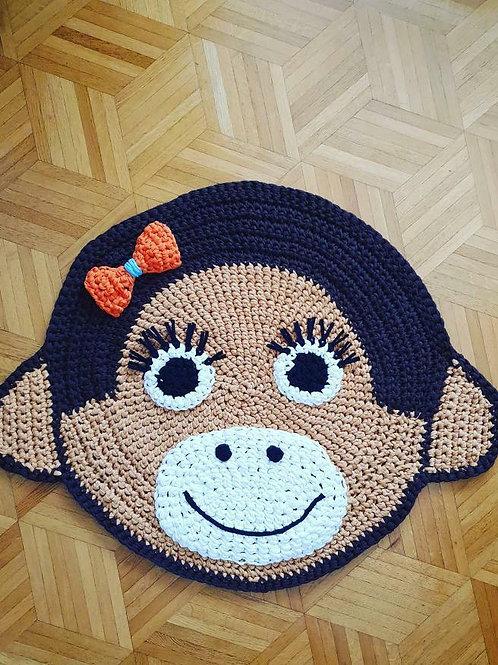 """Handmade Kinder Teppich """"Funky monkey"""" in beige"""