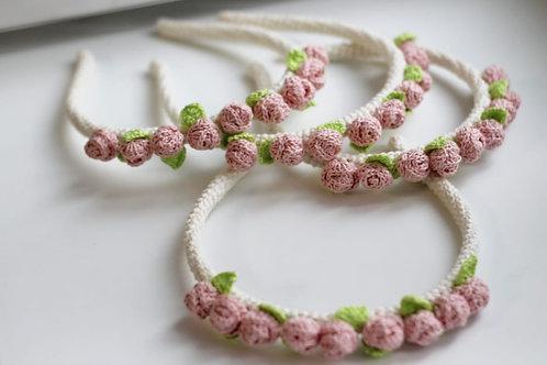"Handmade Haarreifen ""Petite Fée"" - Farbe beige & rosa"