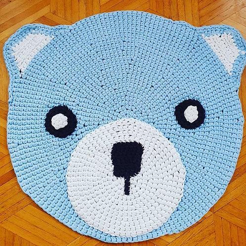 """Handmade Kinder Teppich """"Teddy Bear"""" in blau"""